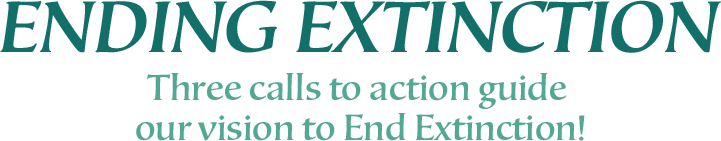 Ending Extinction. Three calls to action guide our vision to end extniction!