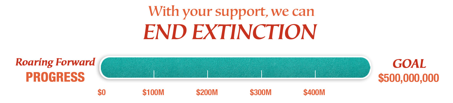 With your support we can end extinction. Progress: $500 million goal achieved.